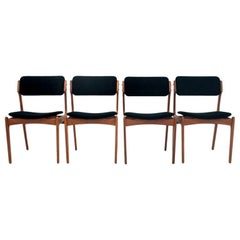 Set of Four Black Chairs Danish Design 1970s after Renovation