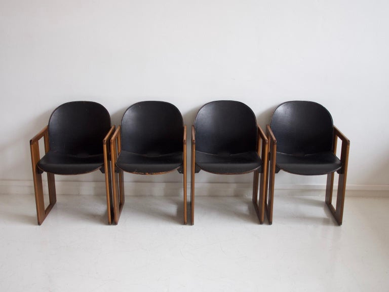 Mid-Century Modern Set of Four Black Dialogo Chairs by Afra & Tobia Scarpa For Sale