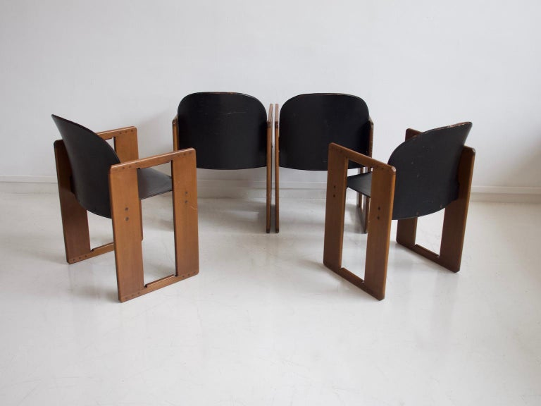 Italian Set of Four Black Dialogo Chairs by Afra & Tobia Scarpa For Sale