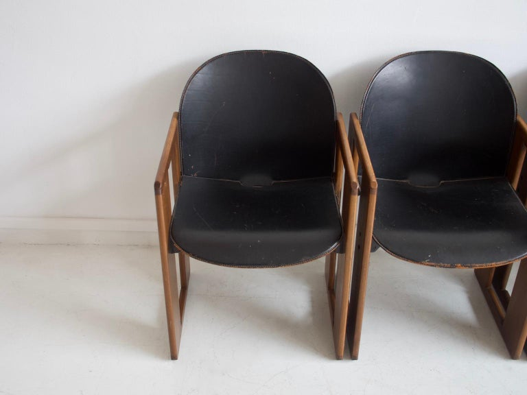 Set of Four Black Dialogo Chairs by Afra & Tobia Scarpa In Good Condition For Sale In Madrid, ES