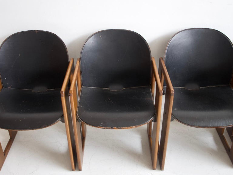20th Century Set of Four Black Dialogo Chairs by Afra & Tobia Scarpa For Sale