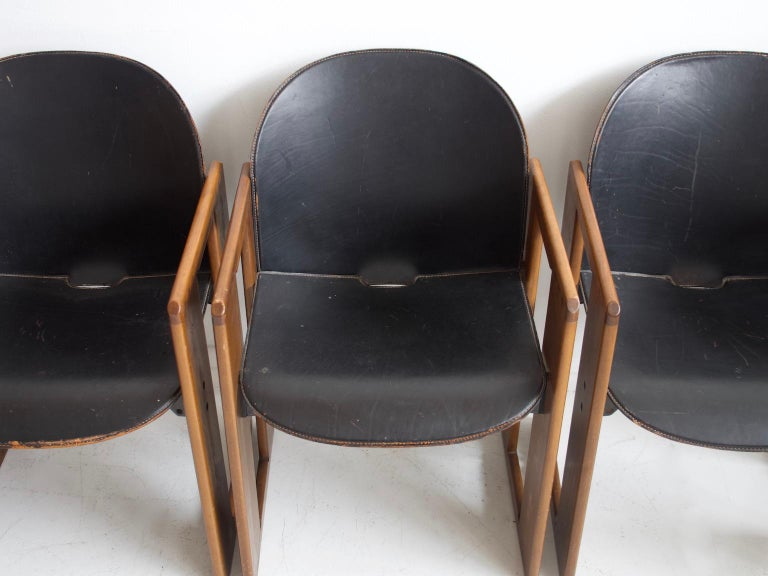 Leather Set of Four Black Dialogo Chairs by Afra & Tobia Scarpa For Sale