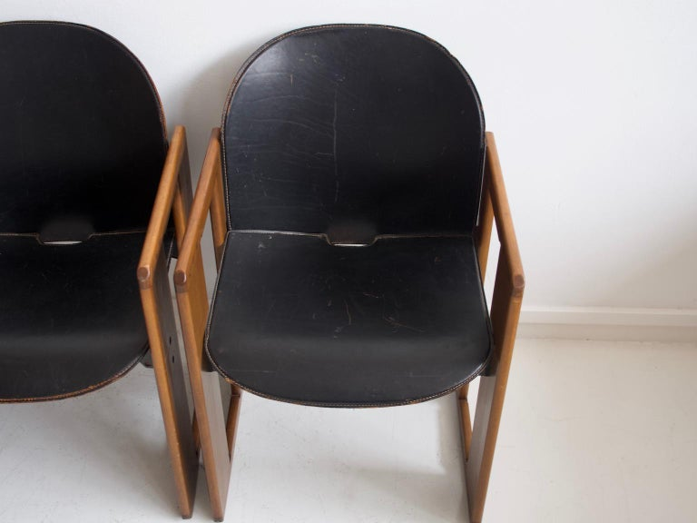 Set of Four Black Dialogo Chairs by Afra & Tobia Scarpa For Sale 1