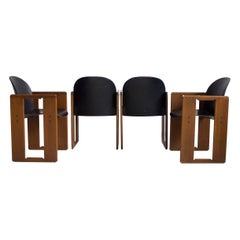 Set of Four Black Dialogo Chairs by Afra & Tobia Scarpa