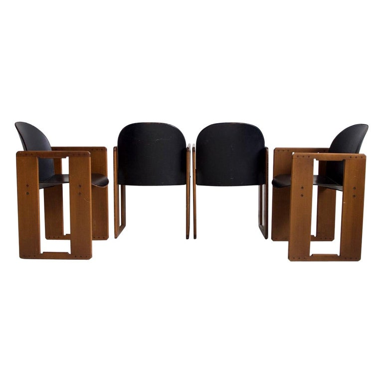 Set of Four Black Dialogo Chairs by Afra & Tobia Scarpa For Sale