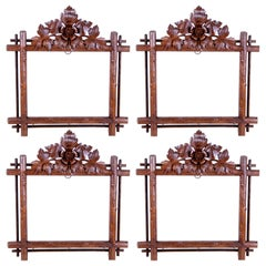 Set of Four Black Forest Picture Frames/ Wall Mirrors, Austria, circa 1890