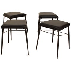 Set of Four Black Italian Midcentury Metal and Leather Stools, circa 1950
