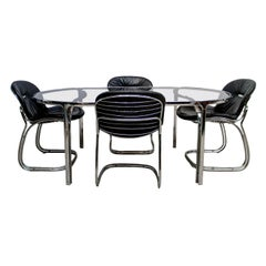 Set of Four Black Italian Sabrina Chairs and Glass Table by Gastone Rinaldi