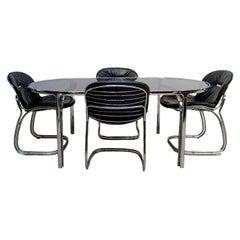 Set of Four Black Italian Sabrina Chairs & Glass Table, Gastone Rinaldi for Rima