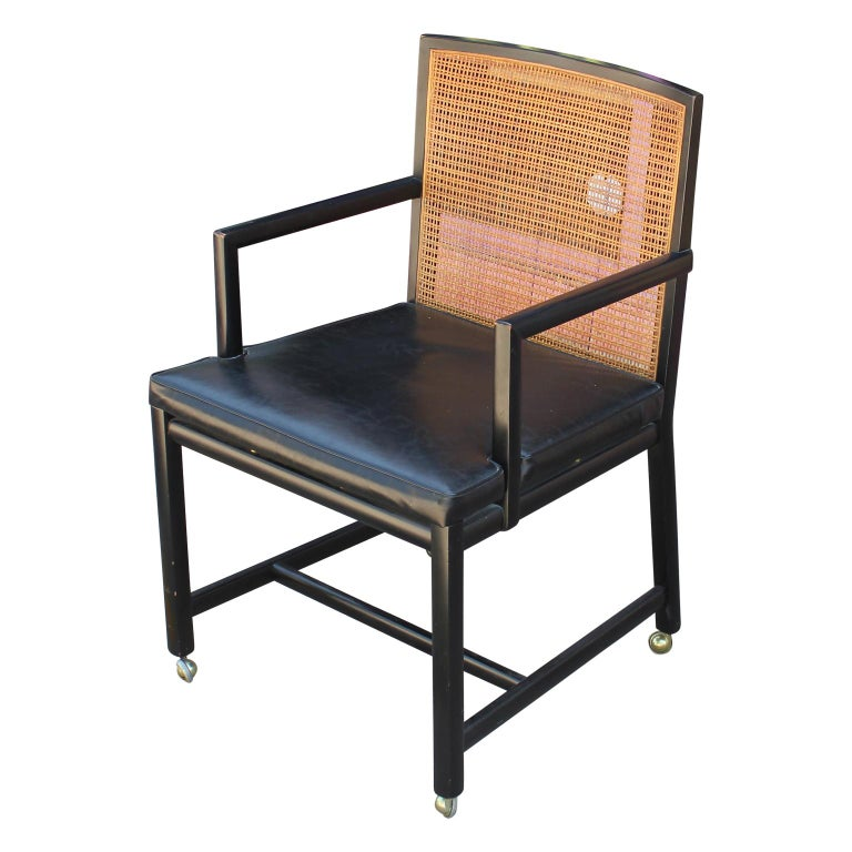Set of Four Black Lacquer Cane Back Dining Chairs by ...