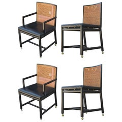 Set of Four Black Lacquer Cane Back Dining Chairs by Michael Taylor for Baker