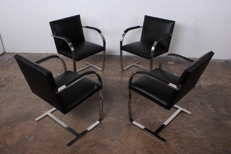Set of Four Black Leather Brno Chairs for Knoll For Sale 6