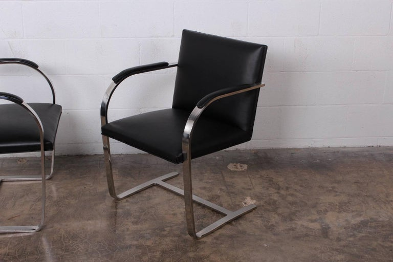 Mid-20th Century Set of Four Black Leather Brno Chairs for Knoll For Sale