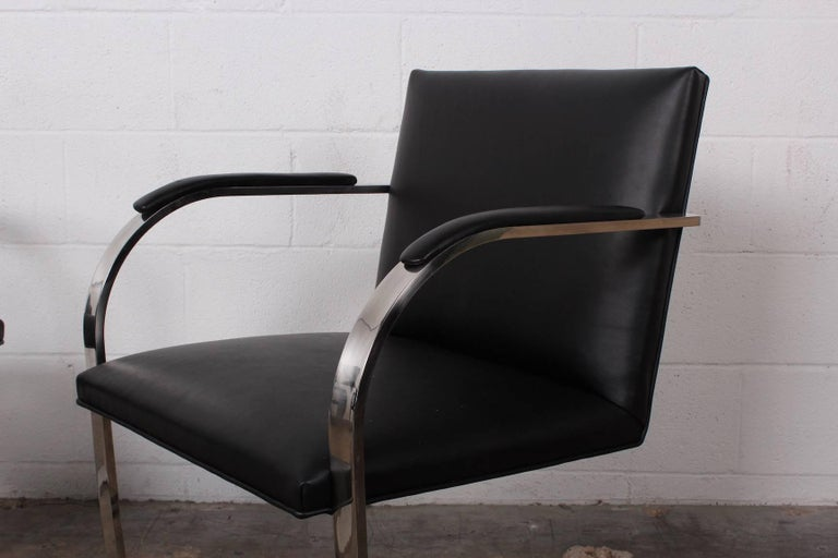 Set of Four Black Leather Brno Chairs for Knoll For Sale 1