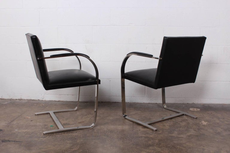 Set of Four Black Leather Brno Chairs for Knoll For Sale 4