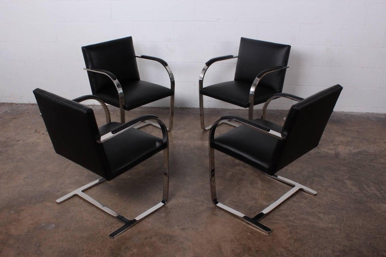 Set of Four Black Leather Brno Chairs for Knoll For Sale 5