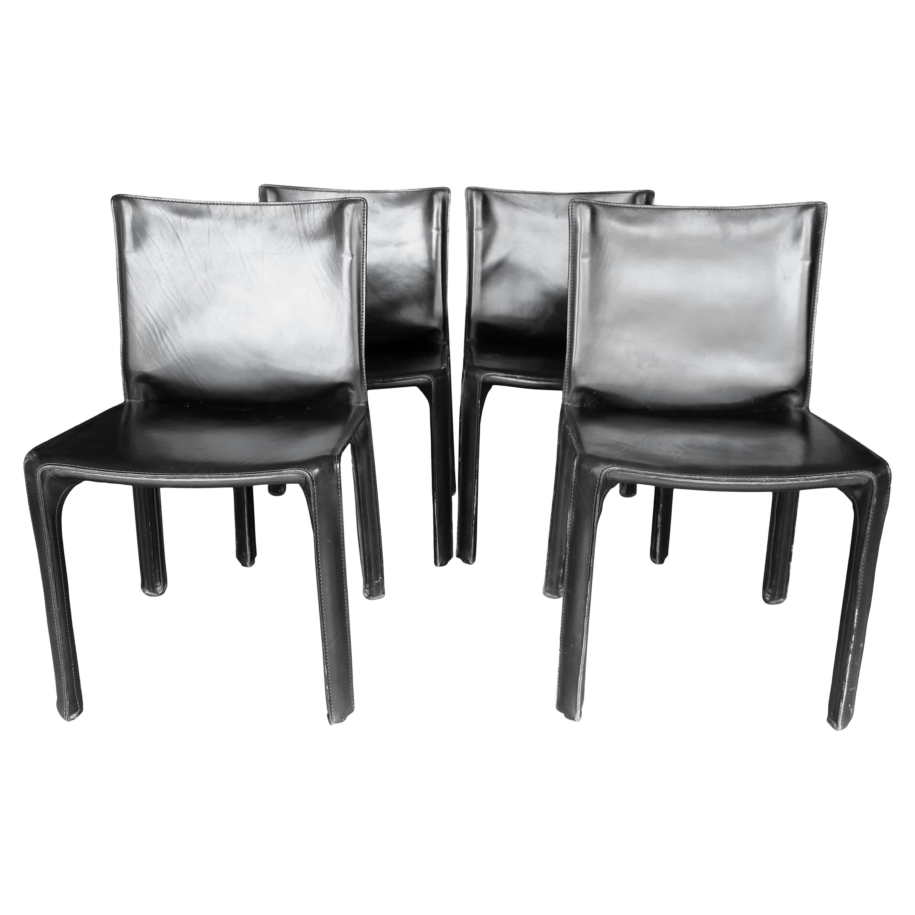 Set of Four Black Leather CAB 412 Chairs by Mario Bellini for Cassina