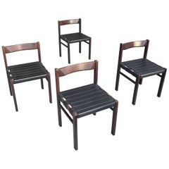 "Set of Four Black Leather Midcentury ""Brazilian"" Chairs in Dark Wenge Wood"