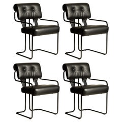 Set of Four Black Leather Tucroma Chairs by Guido Faleschini for Mariani, New