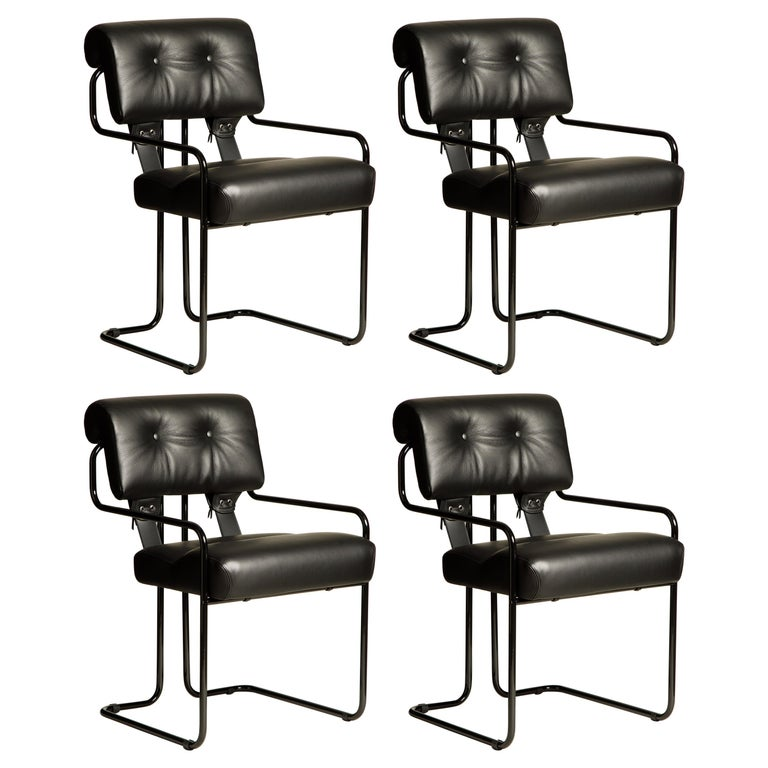 Set of Four Black Leather Tucroma Chairs by Guido Faleschini for Mariani, New For Sale