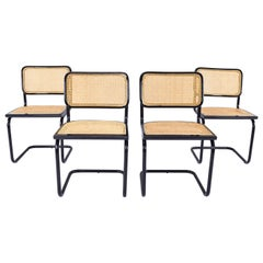Set of Four Black Mid-Century Modern Marcel Breuer B32 Cesca Chairs, Italy 1970s
