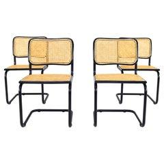 Set of Four Black Mid-Century Modern Marcel Breuer B32 Cesca Chairs, Italy 1970s