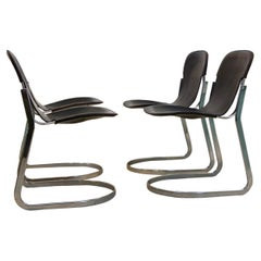 Set of Four Black Saddle Leather Dining Chairs by Willy Rizzo for Cidue, Italy