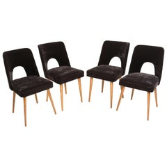 "Set of Four Black ""Shell"" Chairs, Poland, 1960s"