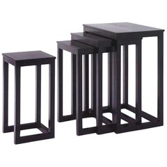 Wittmann Set of Four Black Solid Ash Josef Hoffmann Nesting Tables