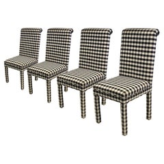 Set of Four Black & White Gingham Parsons Chairs