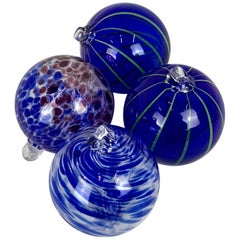 Hand Blown Cobalt Glass Balls-Set of Four