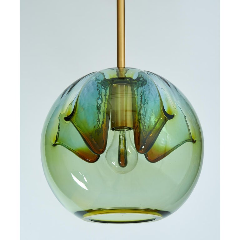 Set of Four Blown Colored Glass Pendant Lanterns, Italy, 1970s In Good Condition For Sale In New York, NY