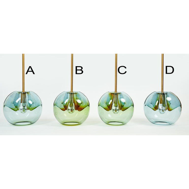 Late 20th Century Set of Four Blown Colored Glass Pendant Lanterns, Italy, 1970s For Sale