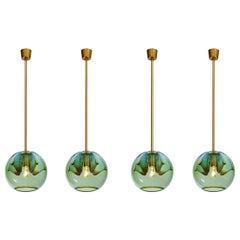 Set of Four Blown Colored Glass Pendant Lanterns, Italy, 1970s