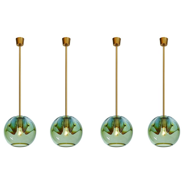 Set of Four Blown Colored Glass Pendant Lanterns, Italy, 1970s For Sale
