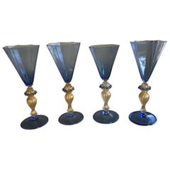 Set of Four Blue and Gold-Flecked Murano Wine Glasses