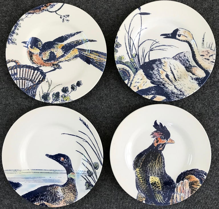 20th Century Set of Four Blue and White Bird Plates For Sale