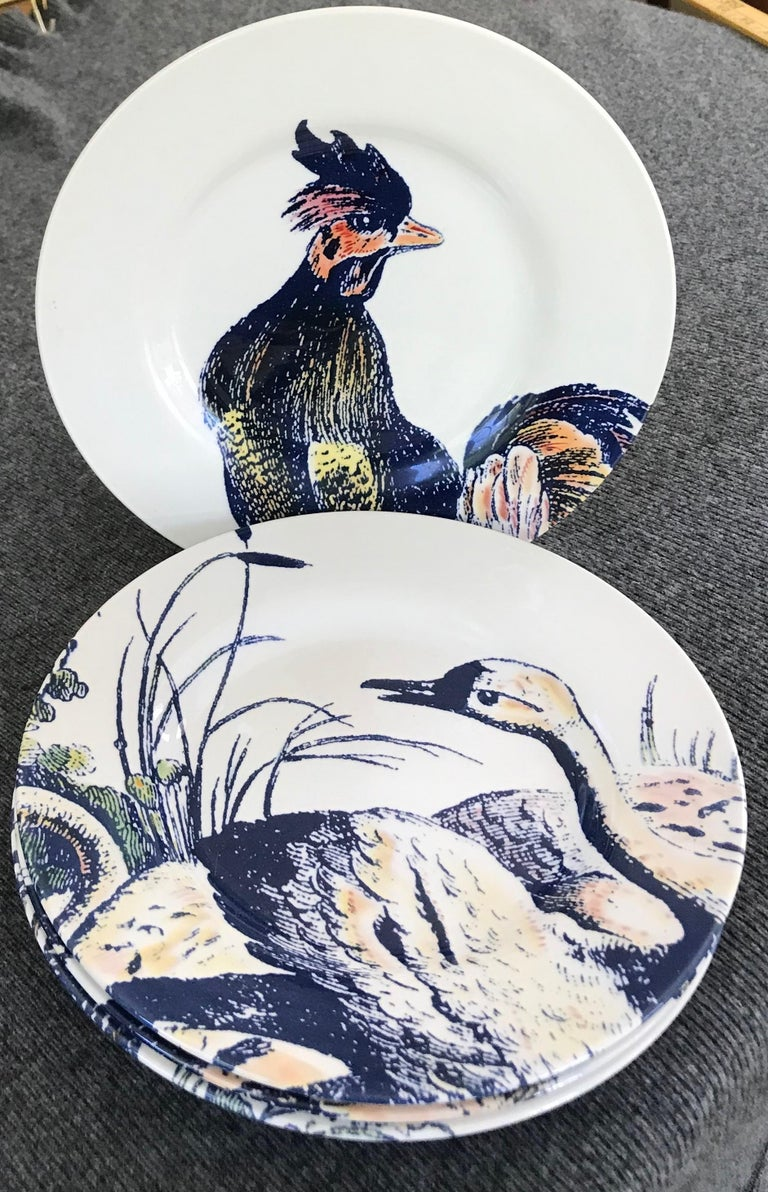 Ceramic Set of Four Blue and White Bird Plates For Sale