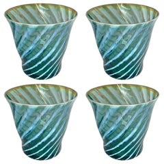 Set of Four Blue Opaline Glasses