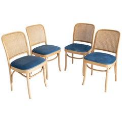 Set of Four Blue Velvet Thonet Wood Rattan Chairs, 1960s