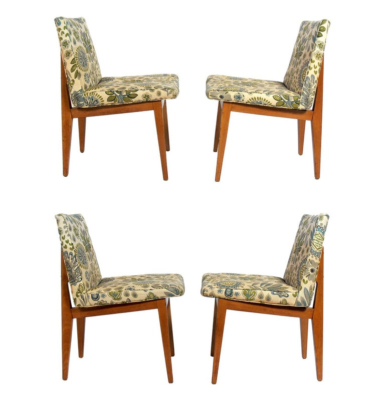 Set of Four Bracket Back Dining Chairs by Dunbar For Sale