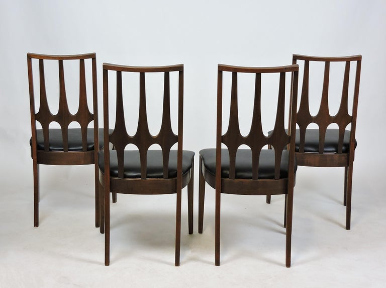 American Set of Four Brasilia Mid-Century Modern Walnut Dining Chairs For Sale