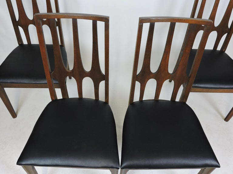 Mid-20th Century Set of Four Brasilia Mid-Century Modern Walnut Dining Chairs For Sale