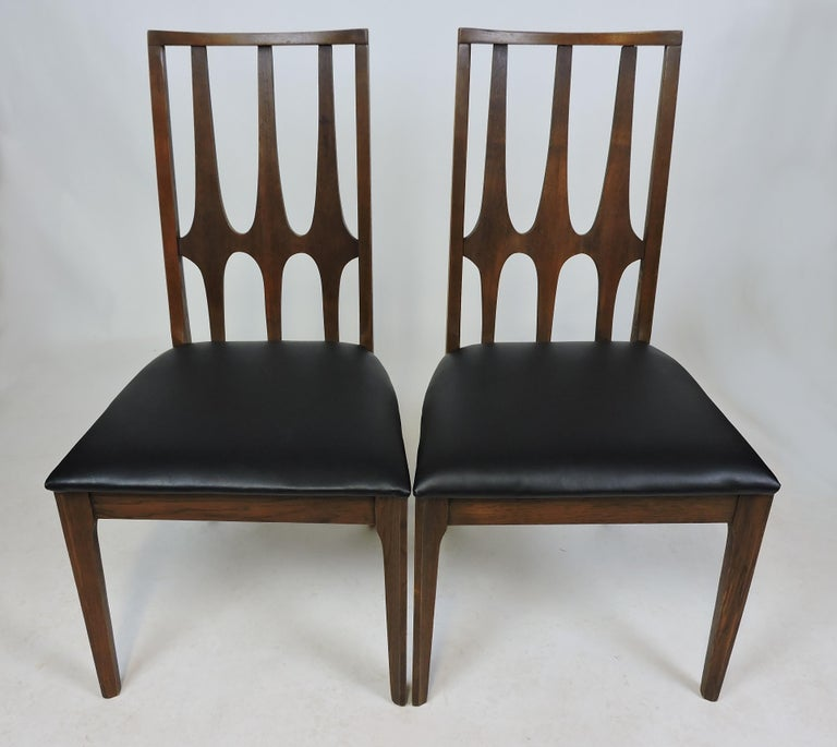 Naugahyde Set of Four Brasilia Mid-Century Modern Walnut Dining Chairs For Sale