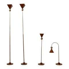 Set of Four Brass and Copper Mid-Century Italian Floor and Table Lamps
