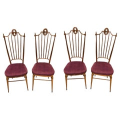 Set of Four Brass and Purple Velvet Chiavari Chairs, Italy, circa 1960
