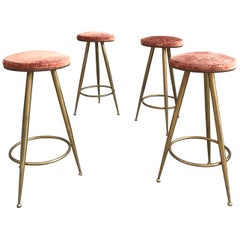 Set of Four Brass Bar Stools Gio Ponti Style
