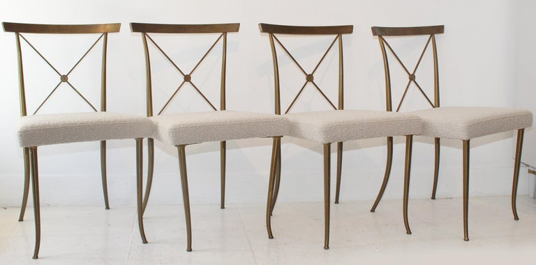Ever-chic set of four solid brass neoclassical chairs by actor and Hollywood designer to the stars, William