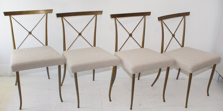 Hollywood Regency Set of Four Brass Chairs by William