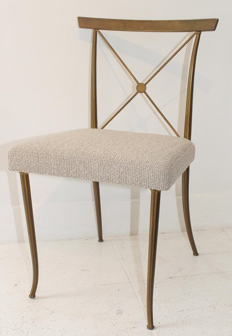 American Set of Four Brass Chairs by William